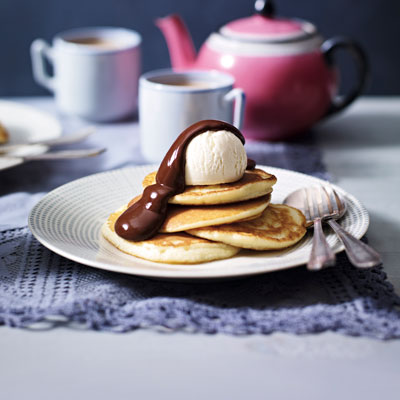 buttermik with chocolate pancakes