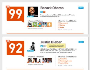 Who has a greater Klout score? Bieber or Obama?